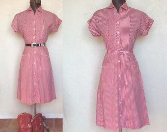 Vintage 1940's 50's Red & White Stripe Cotton Day Dress M
