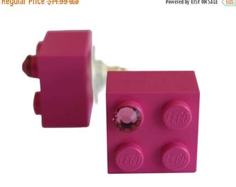 ON SALE Dark Pink LEGO (R) brick 2x2 with a Pink Swarovski crystal on a Silver/Gold plated stud