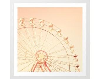 Girl nursery wall art girl, girl nursery decor girl, ferris wheel canvas, ferris wheel art, blush pink wall art, girl nursery prints