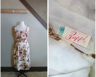 20% OFF / The Dazzling Hour 1950s Rappi Beige/Brown/Pink/Lavender Floral Bloom Print Dress with Sequin Detail