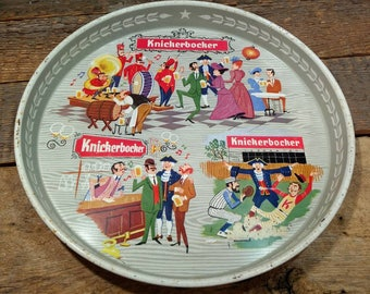 Vintage Round Knickerbocker Beer Tray / Great Graphics / Retro Bar Accessories / Colorful
