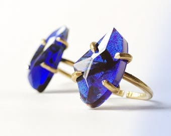 Crystal ring / faceted crystal ring / crystal boho ring / crystal prong ring / sapphire ring