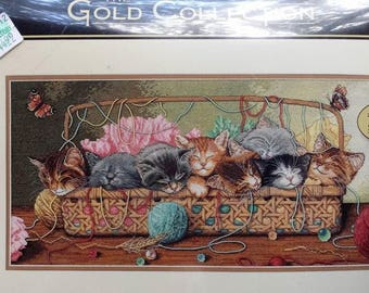 Dimensions KITTY LITTER The Gold Collection Counted Cross Stitch Kit 18x9 New in Package Unopened #35184 w/ Floss Aida Cloth Instructions