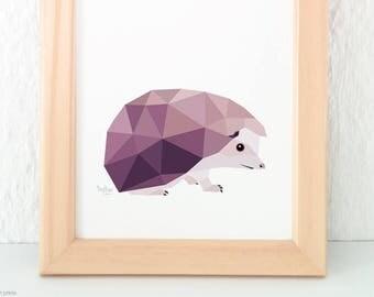 Hedgehog print, Hedgehog illustration, Garden animals wall art, Woodland creatures, English Wildlife, Geometric animals, Animal nursery art