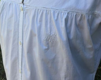 """French vintage fine linen nightgown long sleeves hand embroidered  monogram """"M K """" Size M / L"""