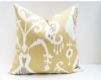 15% Off Sale Decorative Pillow Cover Yellow Gold Ikat Pillow,Euro sham,Euro Pillow Cover - Gold Pillow -Pillow Covers   -Pillow Covers 24x24
