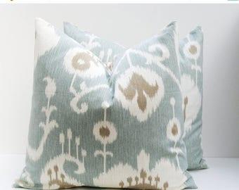 15% Off Sale PILLOWS,Decorative pillow covers,  Blue Pillow ,Ikat Pillows - Ikat Pillow covers - Pillow Covers 18x18 - Spa blue pillow - Acc