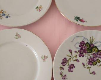 Vintage mismatched china plates bridal shower vintage wedding floral mismatched plates