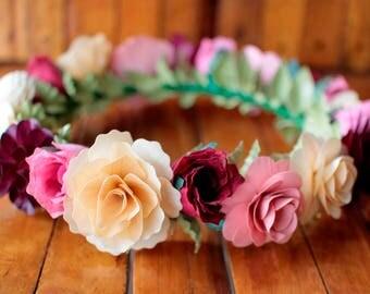 Burgundy, Pink and Ivory Flower Crown, Boho Crown, Wedding Crown, Flower Girl Crown, Birthday Crown, Paper Headdress, Wooden Flowers Crown