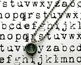 Vintage 1940s Upcycled Typewriter Key Necklace-Number 3 -Unisex Jewelry-Technology Geeks-by OldTimeVintageFinds