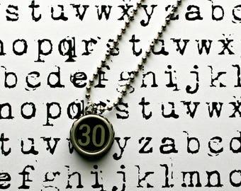 Vintage 1940s Upcycled Cash Register Key Necklace-Number 30 -Unisex Jewelry-Technology Geeks-by OldTimeVintageFinds