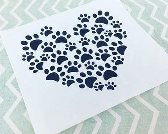 Paw Print Heart Decal, Car Decal, Paw Print Decal, Heart, Paw Print, Laptop Decal