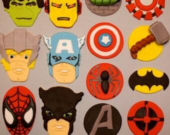 SUPER HERO AVENGERS  -  Fondant Cupcake Tops - 1/2 Dozen