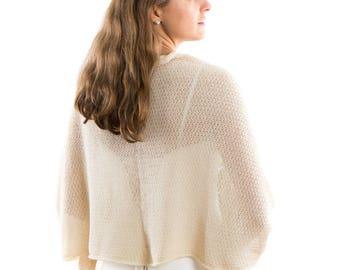 Ivory Cashmere lace Bridal Shawl, Winter wedding  blanket shawl, wedding dress shawl, oversized cashmere shawl