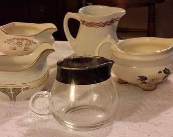 Antique & Vtg Creamers Mayer China Homer Laughlin P and P Limoges The Crescent China Set of Five