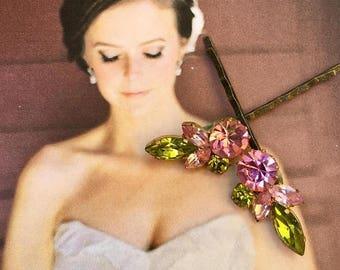 1stDayofSummerSALE Pink Green Juliana Decorative Hair Pins Jewelry Austrian Rhinestone Hair Bobby Pins