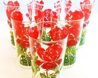 ON SALE Vintage Glasses Set Of Six Red Roses Green Leaves Shabby Chic, Cottage Chic, Mid Century