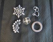 Lot of 5 Silver Toned pin...