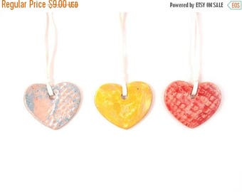 Ceramic Hearts  (set of 3 ), Pottery Ornament,  Pastel colors hearts, Blue, Yellow, Red,  Love