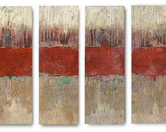Large Abstract art set of 4 paintings. Original Art by Caroline Ashwood - Textured, Modern painting on box canvas - Free Shipping