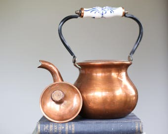Vintage Copper Kettle Delft Handled Kettle Copper Pot