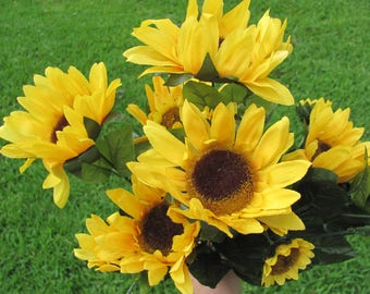 Sunflower Floral Bush, Artificial SunFlowers, Autumn Wedding Decor, Sunflowers, Artificial Flowers