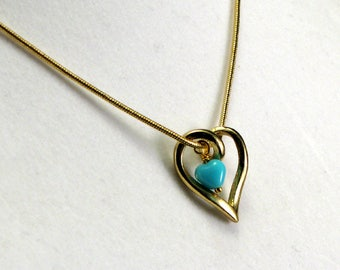 Brass Twisted Heart Pendant with Glass Heart