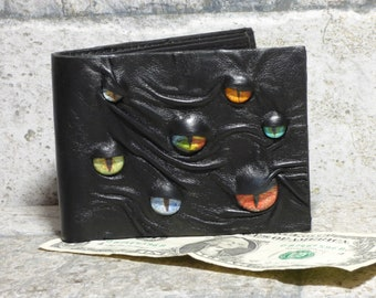Leather Wallet Monster Face Fantasy Magic The Gathering Horror World Of Warcraft  Fathers Day Gift Black 555