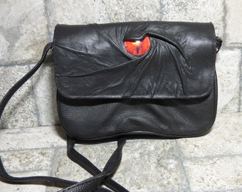 Small Cross Body Purse Messenger Bag With Face Harry Potter Labyrinth Monster Black Leather 412