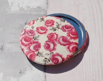 Liberty Fabric Covered Pocket Mirror Kasia Red