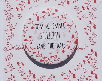 Save the Date Magnet Card Sample Pretty Branches Red
