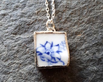 Broken China Jewellery Pendant created from Vintage Blue and White Saucer