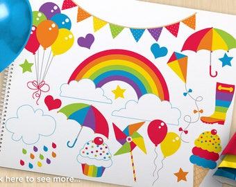 Rainbow Fun Birthday Clipart, birthday balloons, ice-cream, cupcakes, bunting, Summer, rainbow, Commercial Use, Vector clipart, SVG Cut