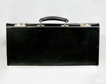 CROWN Luggage Made in England Vintage 1950s Real Leather Black Masonic Case Secretarial Attache Briefcase