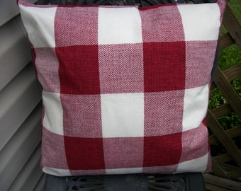 Ruby Red Buffalo Check Pillow Cover, 18 x 18  Cottage, Farmhouse, French Country Style Checkered Plaid Pillow Cover Zipper Closure