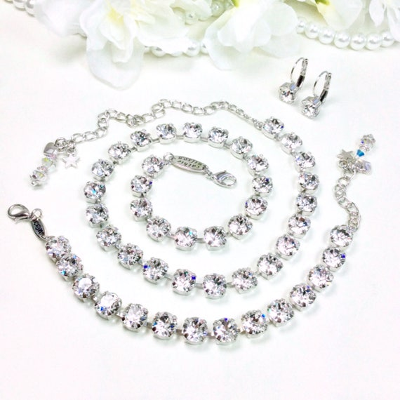 Swarovski Crystal 8.5mm Necklace & Bracelet -  Designer Inspired - Radiant Crystal Clear - Bridesmaid Gift  - Great Price - FREE SHIPPING