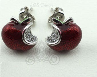 Disney Princess Snow White Red Apple Sterling Silver Earrings Swarovski Crystal Descendents