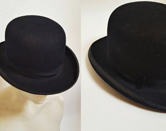 1900s Black Bowler Derby Hat by Carlson