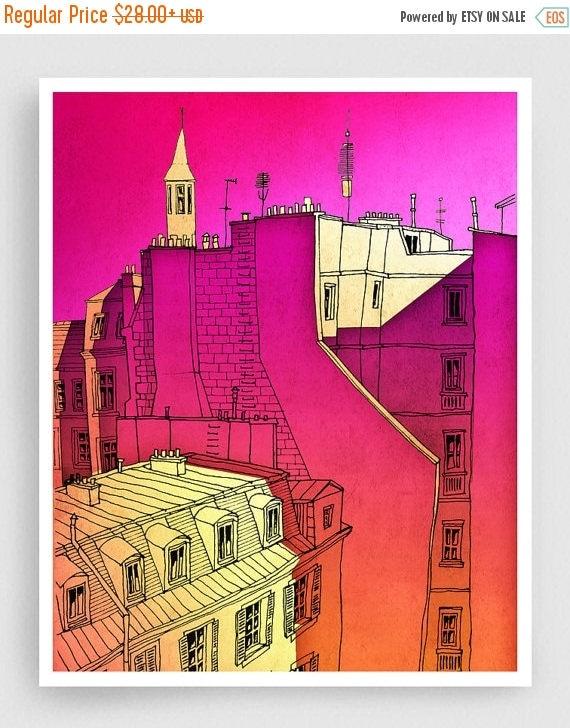 30% OFF SALE: In an old house in Paris 2. - Paris Art Illustration Print Paris art prints Paris decor Home decor Architectural illustration