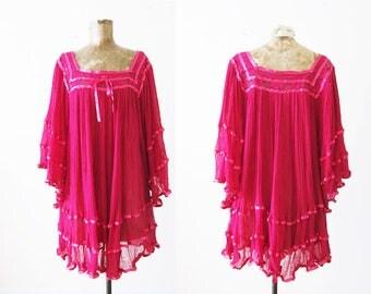 Gauze Cotton Tunic / Angel Sleeve Blouse / Bohemian Tunic / Pink Boho Mini Dress / Kimono Sleeve Dress / Swim Cover Up