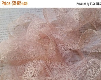 ON SALE 25% OFF Gorgeous Delicate Antique Lace Trim French Cream Pastel Pink