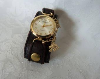 wristwatch leather cuff, round, gold tone metal
