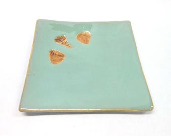 Pottery Shell Plate  Pottery Spoon Rest Shell Soap Dish Ceramic Plate Small Square Plate Shell Impressions Beach Decor in Turquoise
