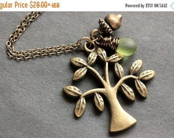 VALENTINE SALE Tree Necklace. Bronze Tree and Acorn Charm Necklace with Wire Wrapped Teardrop. Handmade Jewelry.