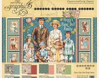 "NEW Release-Sale-Graphic 45 ""Penny's Paper Doll Family""  12 x 12 Paper Pad Pre-Order Now"