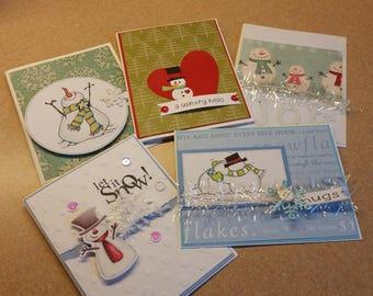 Set of 5 Handmade Snowman Cards