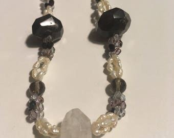 Necklace Amethyst and Crystal with pearls vintage necklace