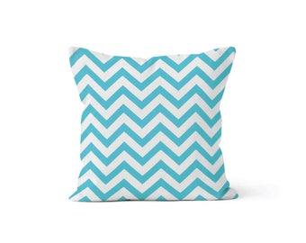 Blue Chevron Pillow Cover - Zig Zag Girly Blue - Lumbar 12 14 16 18 20 22 24 26 Euro - Hidden Zipper Closure