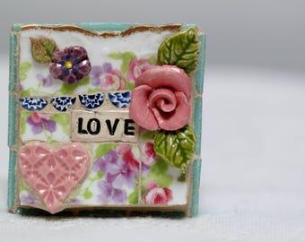 LOVE, mosaic art, mosaic