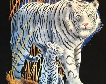 White tiger with cub t shirt, tigers t shirt